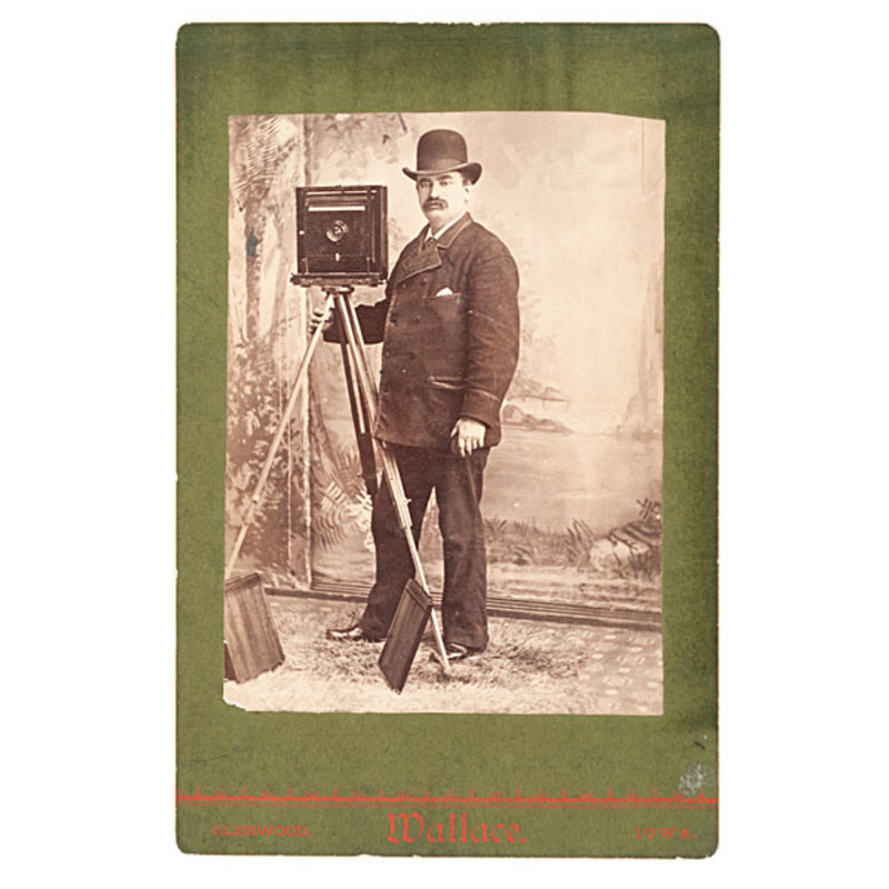 Photographer Posed with his Camera, Cabinet Card by Wallace, Iowa