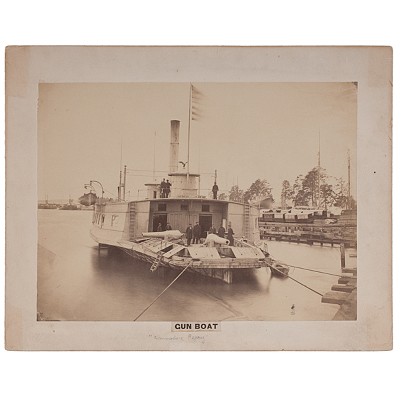 Mathew Brady Photograph of the Armed Gun Boat Commodore Perry, 1864