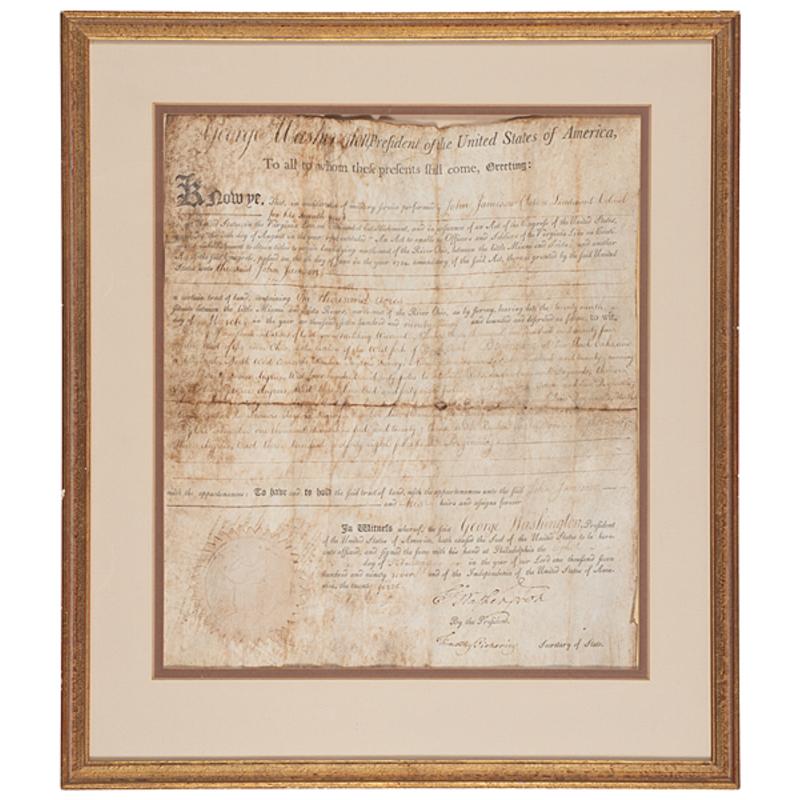 George Washington Signed Land Grant