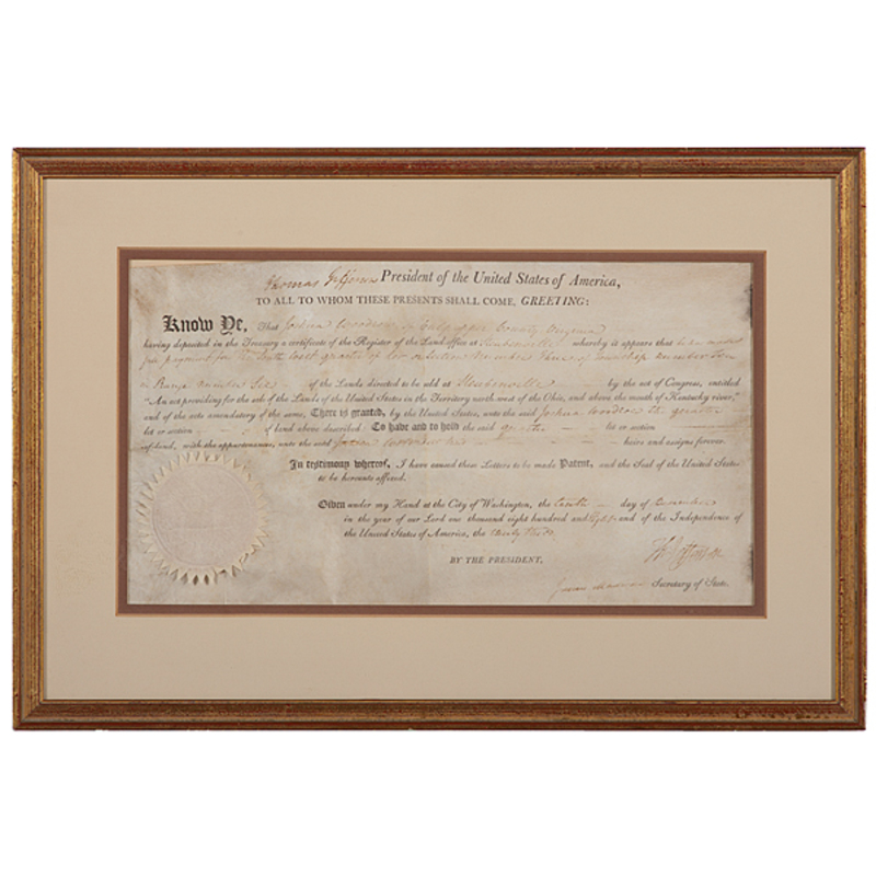 Thomas Jefferson & James Madison Signed Land Grant