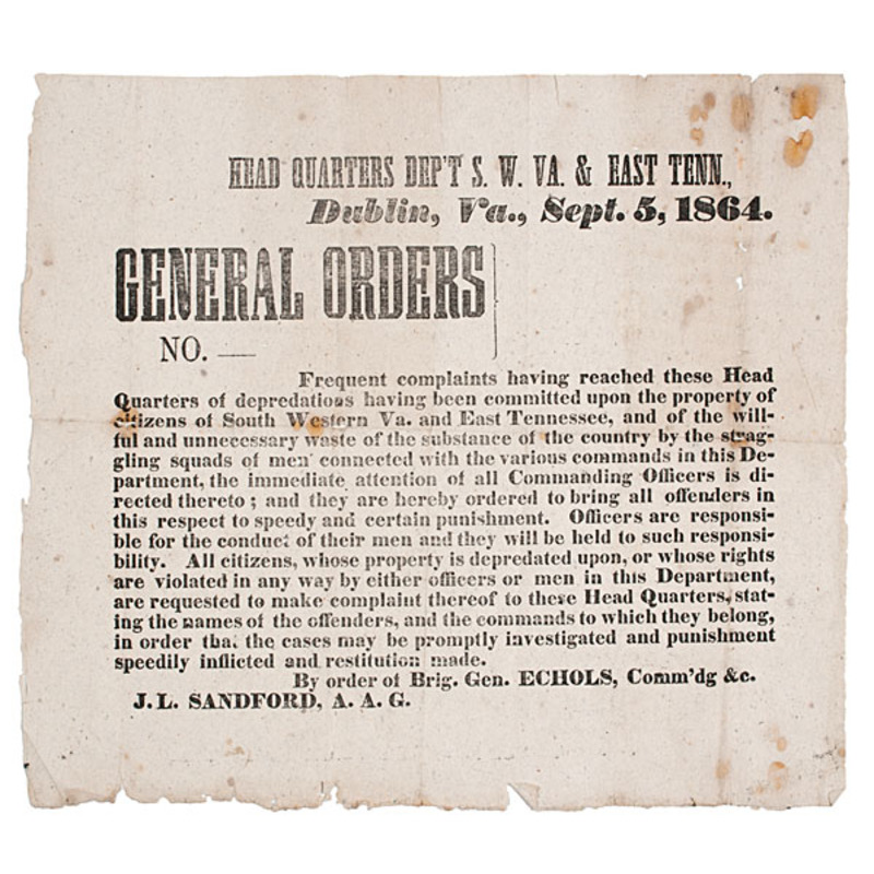 Unrecorded Confederate Broadside, General Echols Orders on Depredations, September 1864
