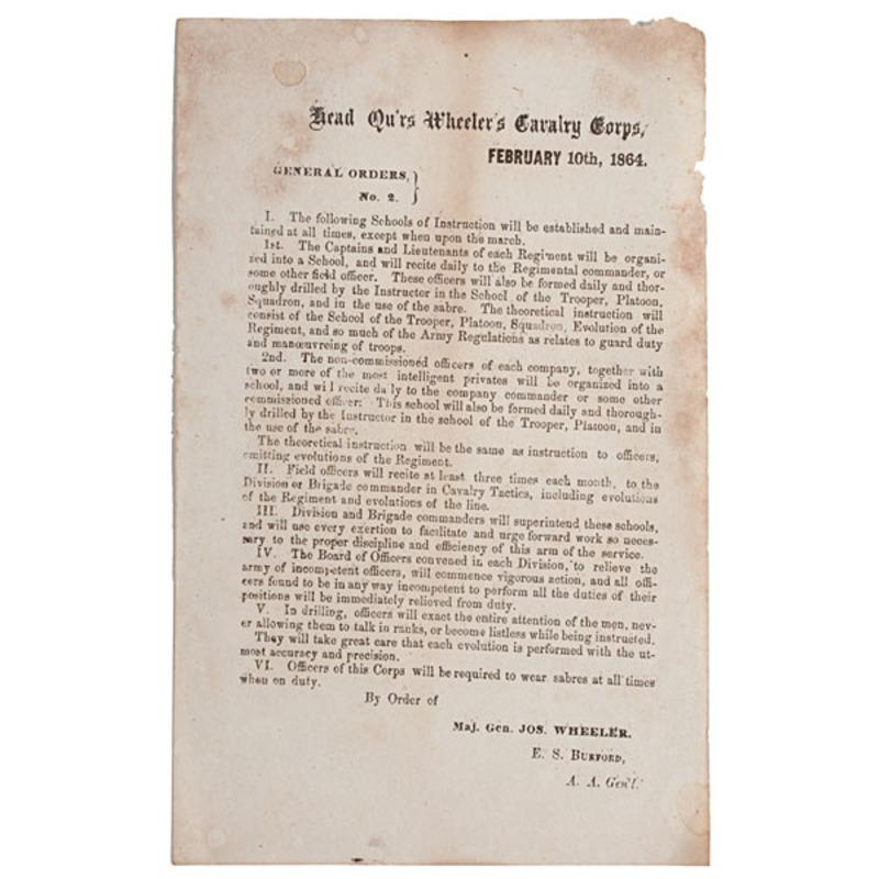 Confederate General Wheeler's General Orders, February 1864