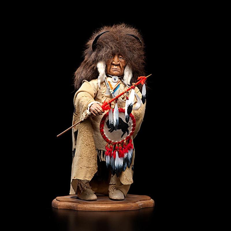 Shona Hah Kwakwaka'wakw Carving of a Buffalo Hunter