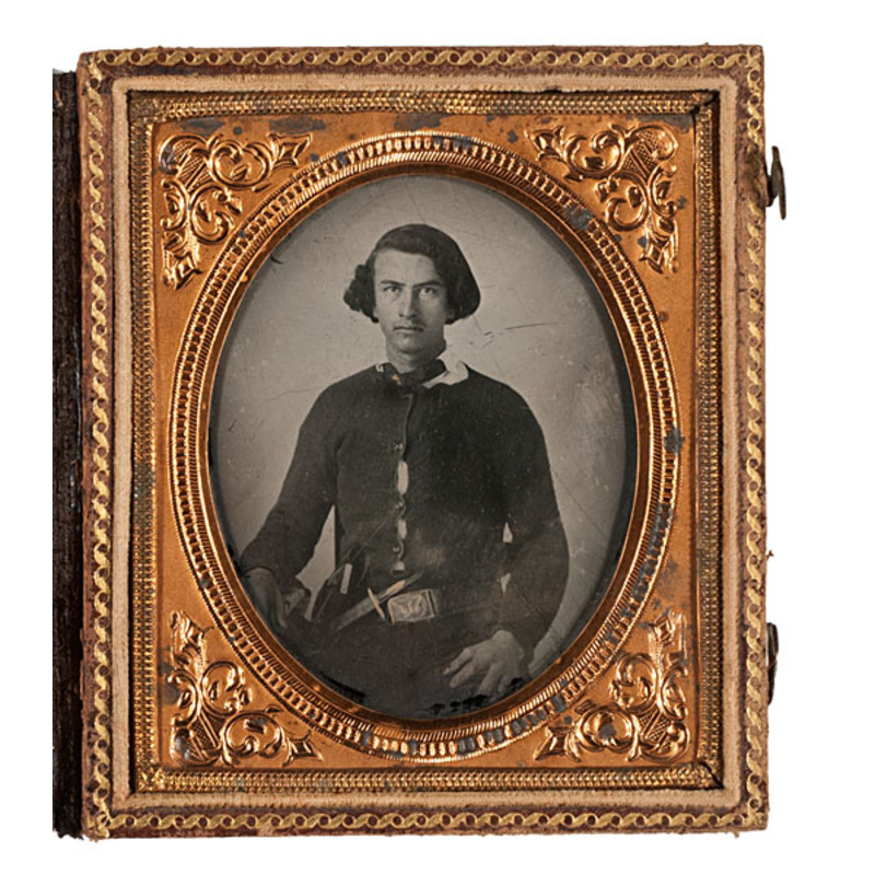 Civil War Sixth Plate Ambrotype of Early Double-Armed Volunteer
