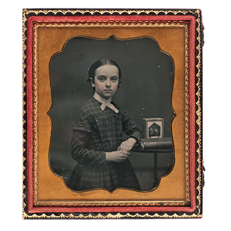 Sixth Plate Daguerreotype of a Young Girl with a Sand Toy