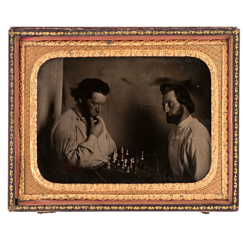 Quarter Plate Ambrotype of Chess Players