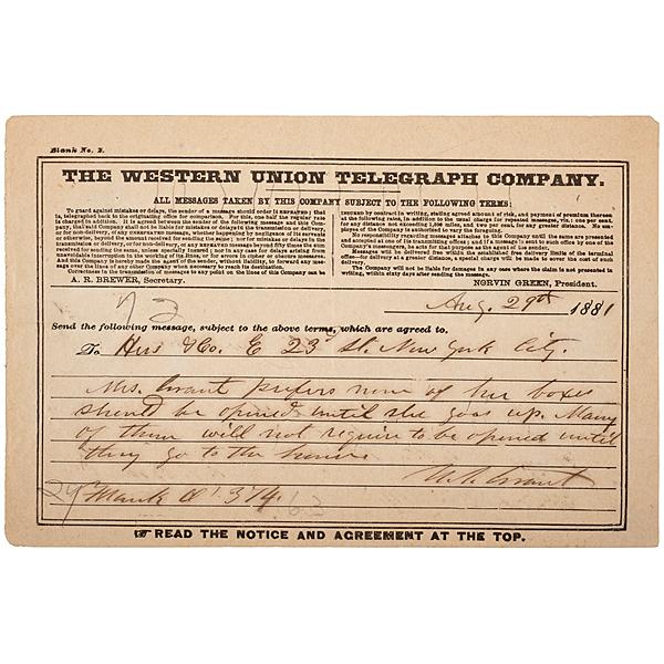 Ulysses S. Grant ANS, Regarding Mrs. Grant, Baggage