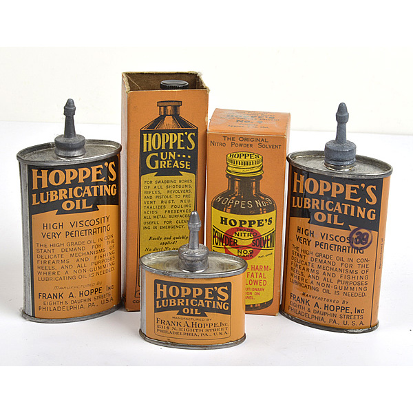Lot of Five, Three Oil Cans, Tube of Grease, Hoppe