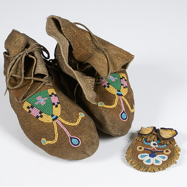 Plateau Beaded Hide Moccasins and Beaded Hide Pouch