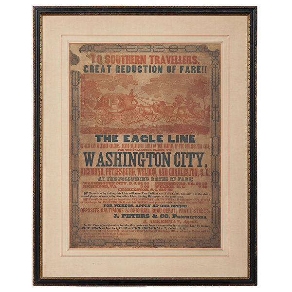 Rare Southern Illustrated Stagecoach Broadside, 1844