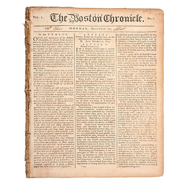 John Dickinson, Letters from a Farmer in Pennsylvania, Published in the Boston Chronicle
