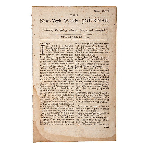 New-York Weekly Journal, July 8, 1734, Published by John Peter Zenger of the Landmark