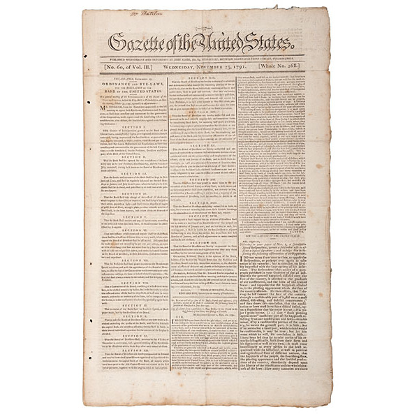 Gazette of the United States, November 1791, with First Printing of Bye-Laws of the Bank of the United States