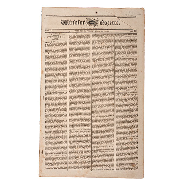 Windsor Federal Gazette, March 24, 1801, Including Thomas Jefferson Address
