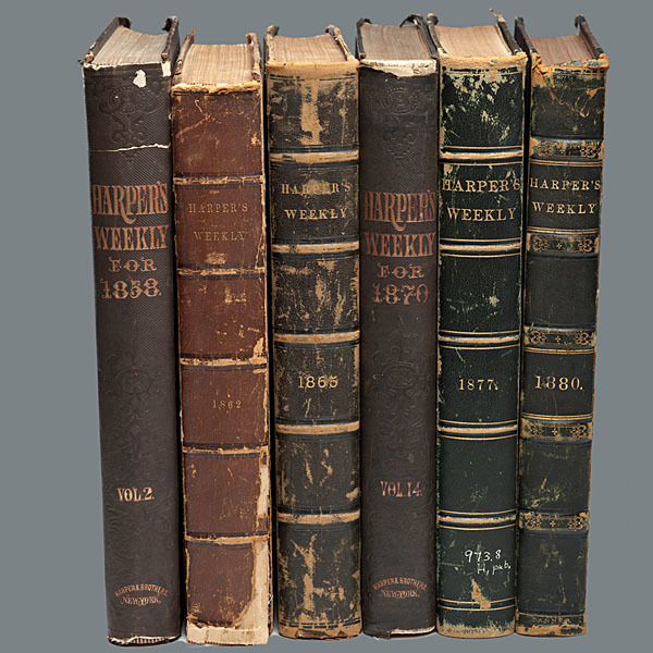 Harper's Weekly, Group of 6 Civil War-Period and Post-War Bound Volumes