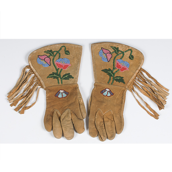 Plateau Beaded Hide Gauntlets Collected by Dr. Clarence Eugene Marshall (1887-1951)