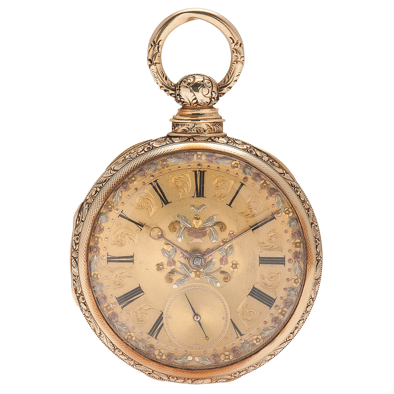 M I Tobias Amp Co Open Face Pocket Watch In 18 Karat