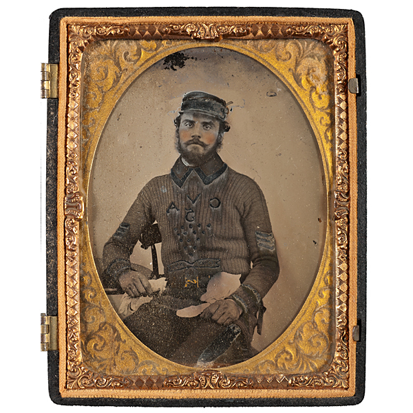 Quarter Plate Ambrotype of an English Sergeant Wearing a Unique Crimean War-Era Sweater
