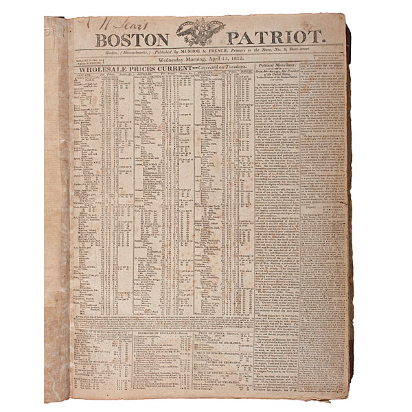 Boston Patriot, Bound Set of War of 1812-Period Issues, April-December 1812