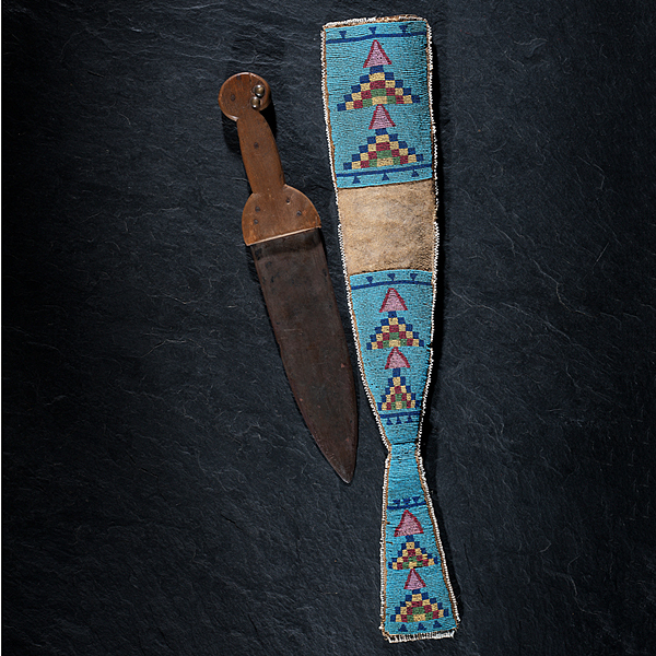 Crow Foot's (1836-1890) Blackfeet Dag Knife with Beaded Hide Sheath From the Collection of Marvin L. Lince, Oregon