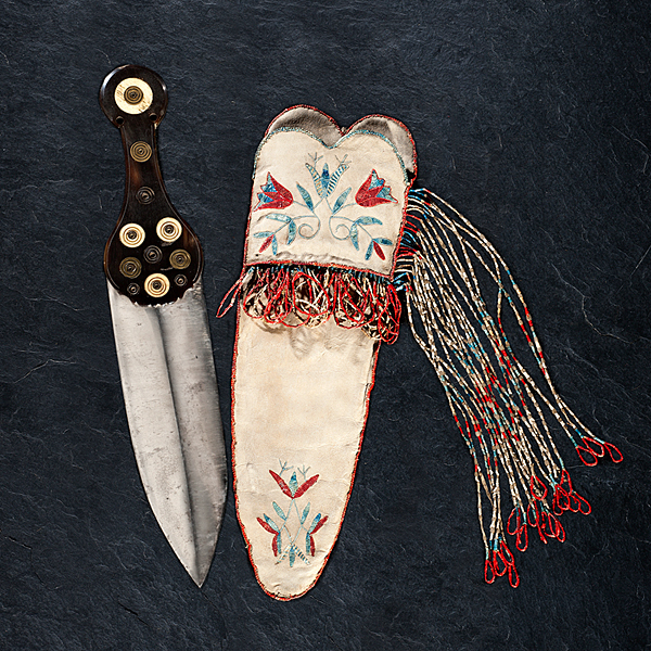 Red River Metis Quilled Hide Knife Sheath with Dag Knife From the Collection of Marvin L. Lince, Oregon