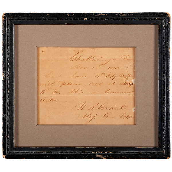 Ulysses S. Grant Written & Signed Field Note, Plus Currier & Ives Print