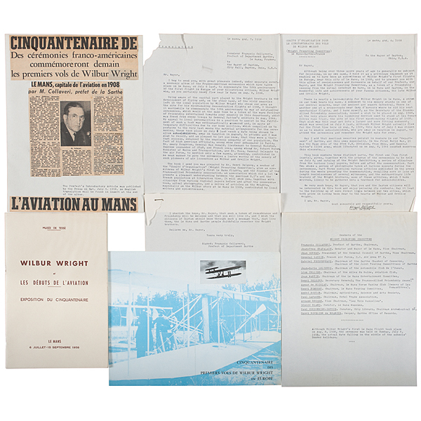 Wright Brothers, 50th Anniversary of their First Flight in Europe, Souvenir Album Presented to Mayor Patterson, Dayton, Ohio, 1958