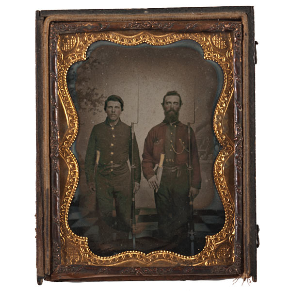 Quarter Plate Ambrotype of Armed Rebels, From the McAfee Family of York, South Carolina