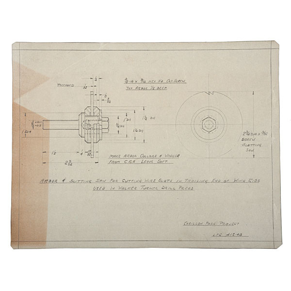 Wright Brothers, Original Drawings of Parts Used in the 1905 Wright Aeroplane, by Louis P. Christman, with Corrections Made by Orville Wright