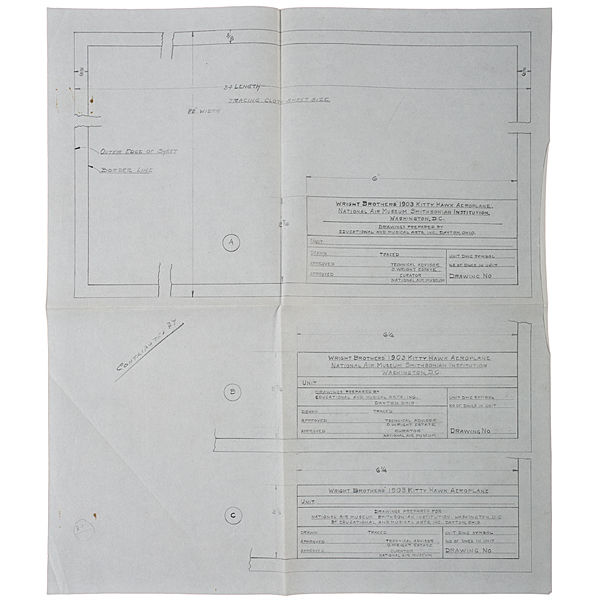 Wright Brothers, Original Drawings Delineated by Louis P. Christman for Restoration of the 1905 Wright Flyer, With Corrections Made by Orville Wright