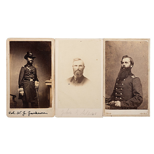 5th Maine Officers, Three Identified CDVs, including Colonel Nathaniel Jackson