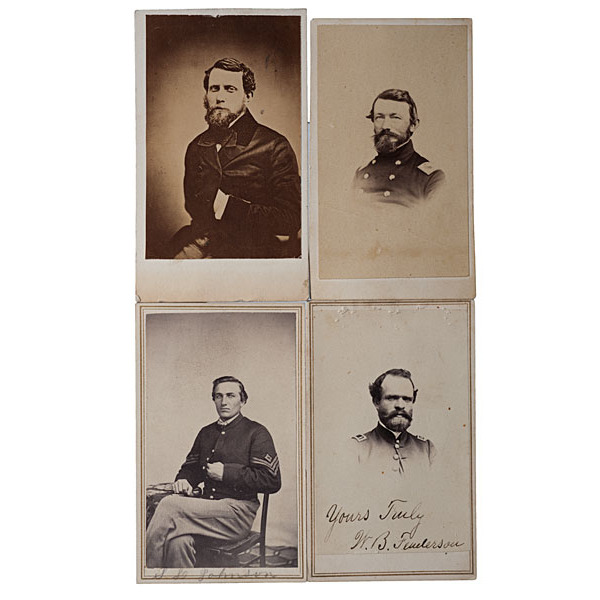 5th Maine Soldiers, Four Identified CDVs, including Colonel Nathaniel Jackson