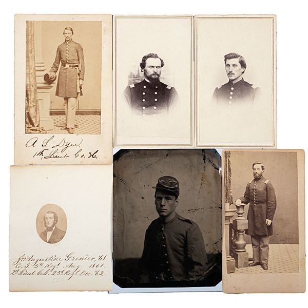 5th Maine Soldiers, Six Identified CDVs, including Major A.S. Daggett