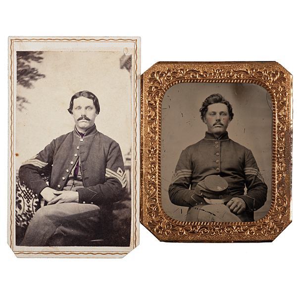 Sergeant Fayette M. Paine, Co. A, 17th Maine-WIA Gettysburg, Tintype & CDV