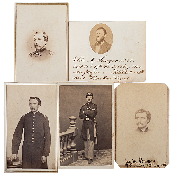 17th Maine Officers, Four Identified CDVs, Plus