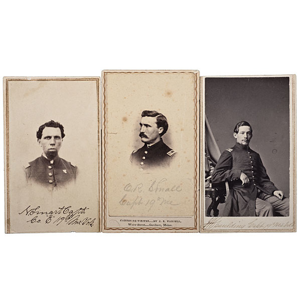 19th Maine Officers at Gettysburg, Three Identified CDVs