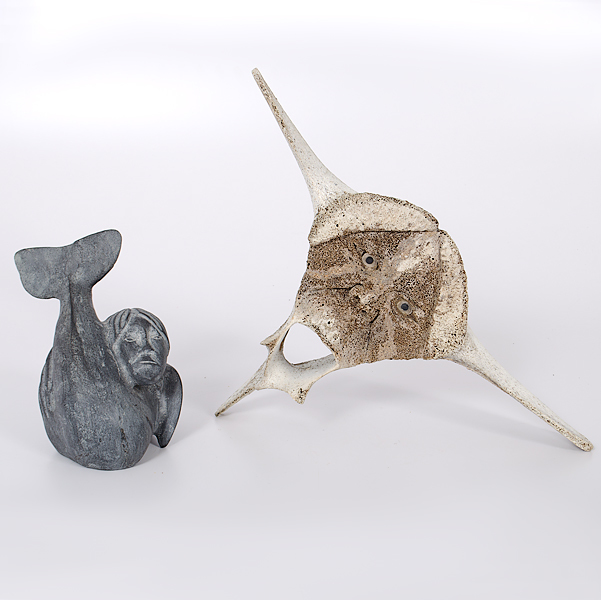 Eskimo Soapstone and Whale Vertebrae Transformation Carvings