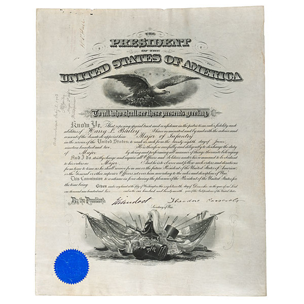 Theodore Roosevelt Commission Signed as President, for Harry Lee Bailey, Major
