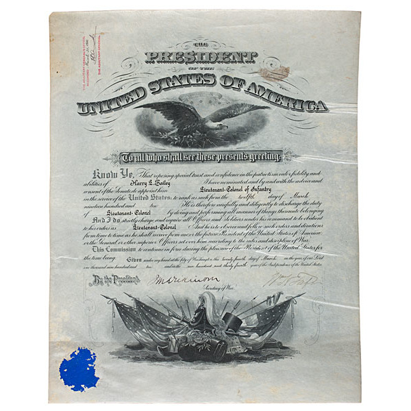 William H. Taft Commission Signed as President, for Harry Lee Bailey, Lieutenant Colonel