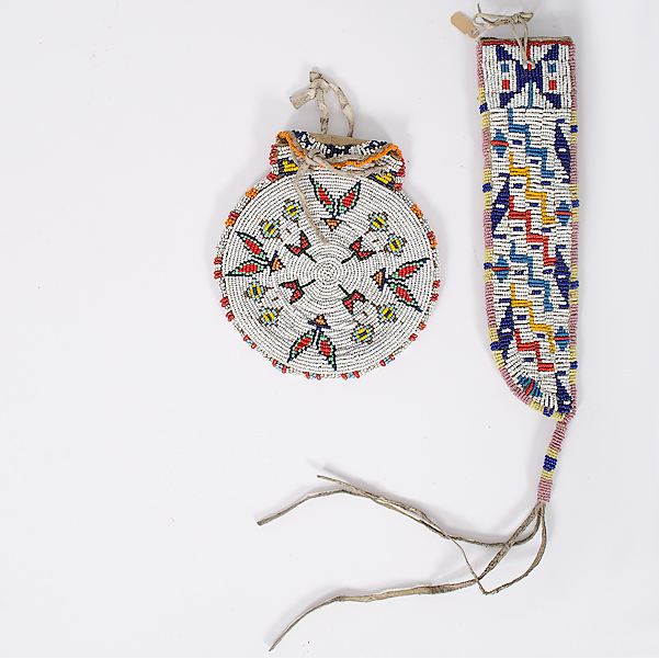 Sioux Beaded Knife Sheath and Ute Beaded Pouch Collected by John S. Boyden, Sr. (1906-1980)