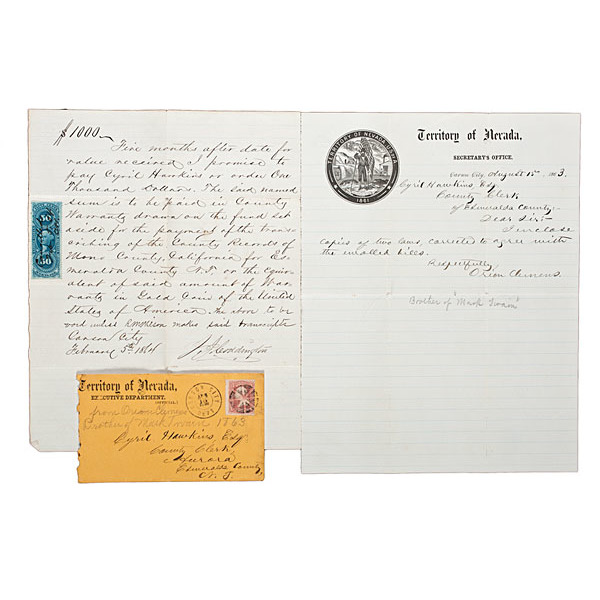 Carson City, Nevada Territory Cover & ALS from Orion Clemens, Plus