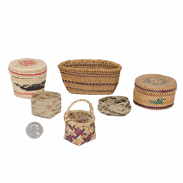 Collection of Miniature Nootka/ Makah, Cherokee, and Tarahumara Baskets From the Collection of Dr. Kent and Karen Vickery, Colorado