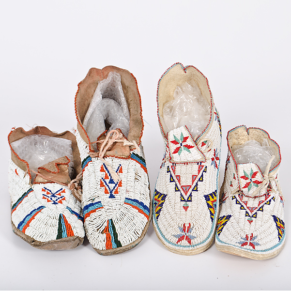 Sioux Beaded Hide Moccasins From the Collection of Dr. Kent and Karen Vickery, Colorado
