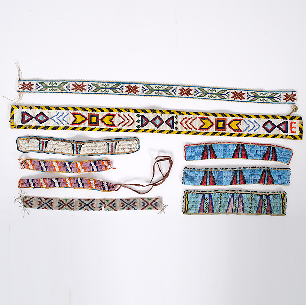 Assortment of Plains Beaded Armbands and Straps From the Collection of Dr. Kent and Karen Vickery, Colorado