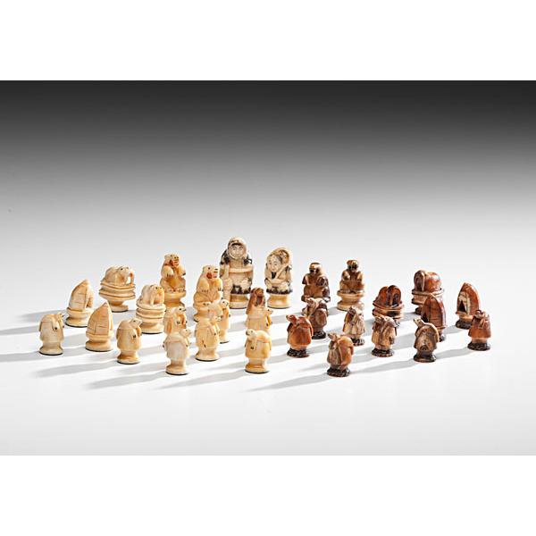Eskimo Walrus Ivory Chess Pieces