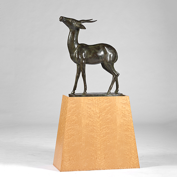 Sculpture of Bronze Gazelle on Custom Stand