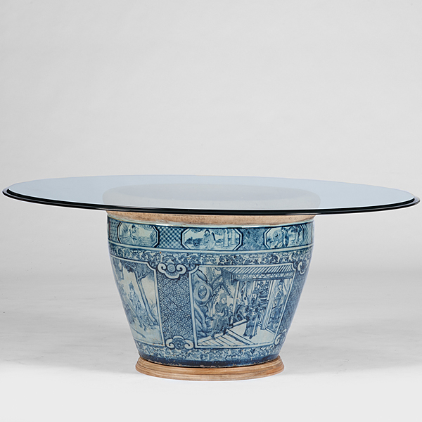 Chinese Pot and Glass Top Table