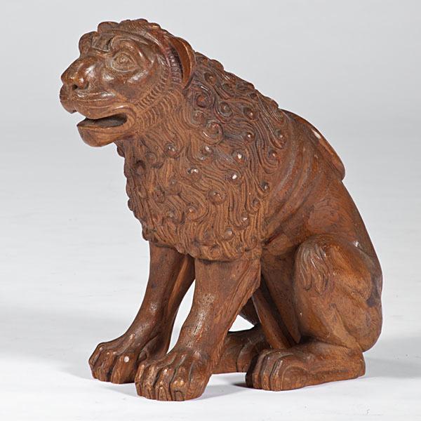 Large Carved Wooden Lion