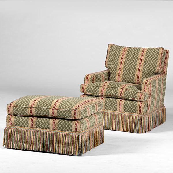 Overstuffed Chair and Ottoman