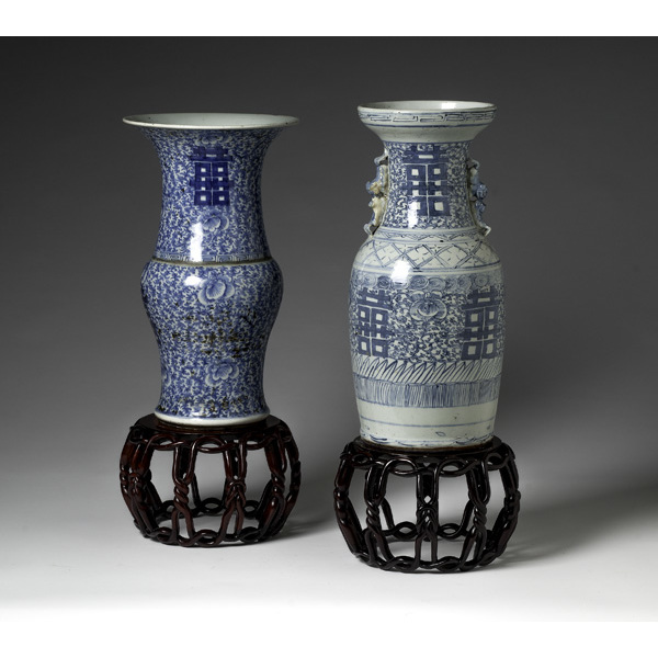 Auspicious Chinese Blue and White Vases
